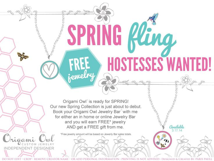 Origami Owl is ready for SPRING! Our new Spring Collection is just about to debut tomorrow, March 17th!!! Book your Jewelry Bar with me for either in home or online and you will earn FREE* jewelry AND get a FREE gift from me. I'm in the Lake Elsinore area but I will travel to you!  Message me now to book! www.facebook.com/OrigamiOwlbyJenniNicassioIndependentDesigner