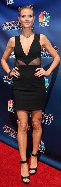 Heidi Klum's platform sandals and mesh black dress