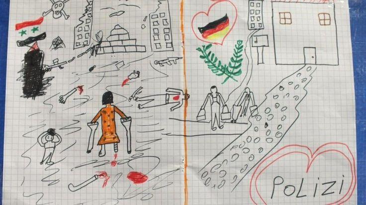 Das ganze Drama aus Sicht eines Kindes.  Ein Bild geht gerade durchs Internet, eingestellt von der Bundespolizei. Gemalt hat es ein Kind aus Syrien. Es zeigt den Horror des Krieges, vor dem es geflohen ist, und die Hoffnung, die es mit Deutschland verbindet. http://www.deutschlandfunk.de/bild-zur-fluechtlingskrise-das-ganze-drama-aus-sicht-eines.1818.de.html?dram%3Aarticle_id=332142