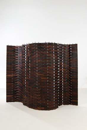 Umberto Riva; Exotic Wood Screen, 1950s.