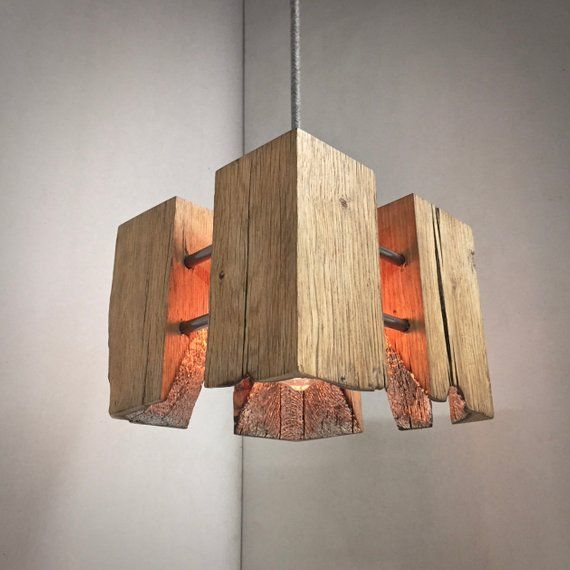 StarLight Cube 'Rustic'. Unique, Hand crafted oak steel and aluminium gild Edison pendant lamp with vintage fabric cable. From Made by Greig