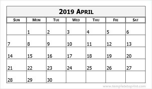 April 2019 Calendar Template Word Document With Images