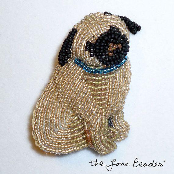 Beaded Fawn PUG w/ blue collar beaded dog art by thelonebeader, $95.00