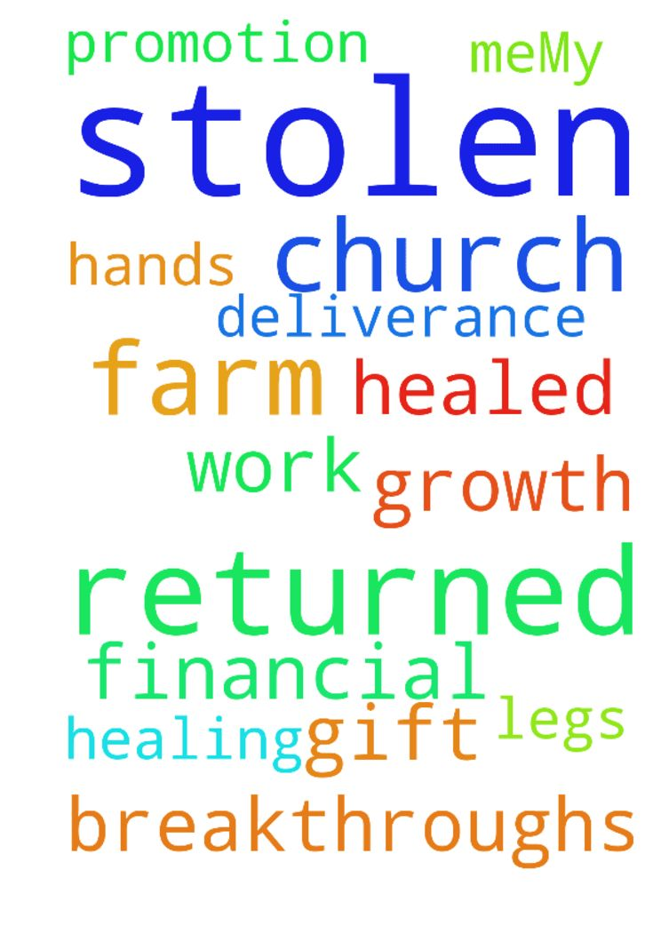 My stolen farm be returned to meMy - My stolen farm be returned to me My stolen church be returned to me My legs and hands be healed My financial breakthroughs Work promotion Church growth Gift of healing and deliverance Posted at: https://prayerrequest.com/t/Td2 #pray #prayer #request #prayerrequest
