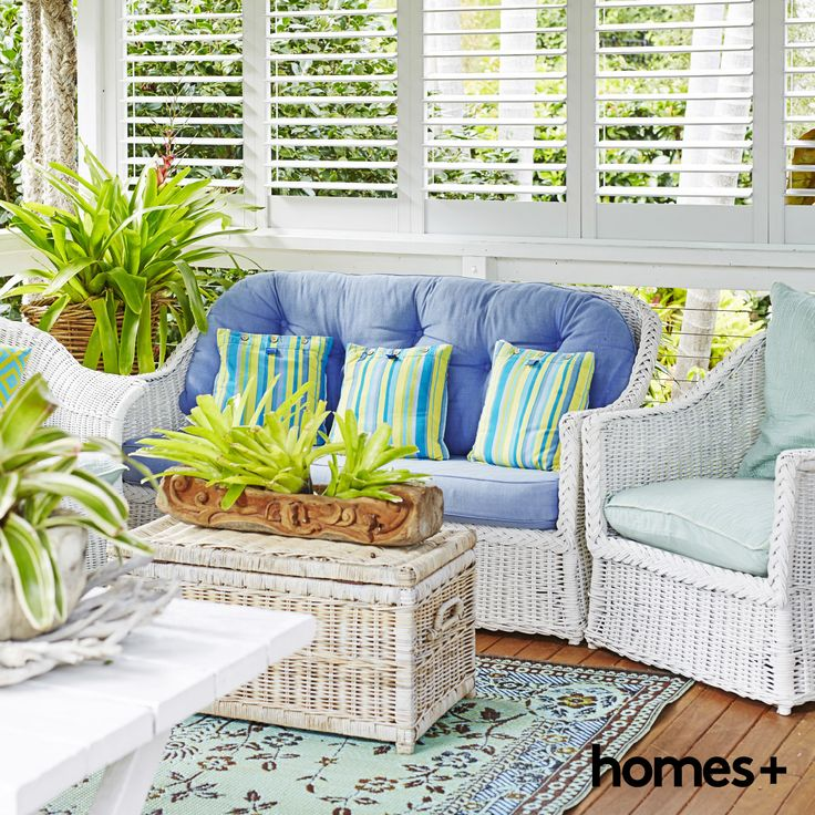 Di's beachy style #readerhome is full of gorgeous #cane #furniture. As featured in the June 2015 issue of homes+. #beach #coastal #wicker #livingroom