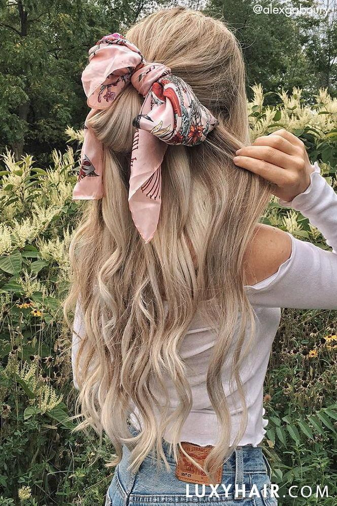 Summer Hairstyles with Headscarves: Alex is wearing her Ash Blonde Luxy Hair Extensions to achieve this volume and length #braidedhairstyles