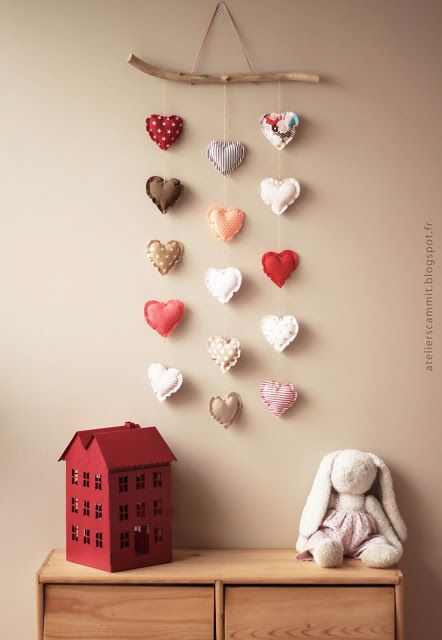 DIY fabric hearts- I like this idea, but I don't think the branch would work for us