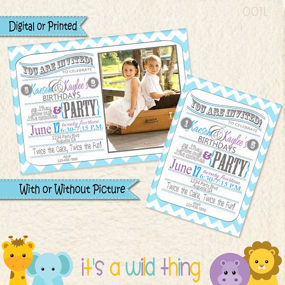 Brother and Sister Joint Birthday Party Invitations Gray