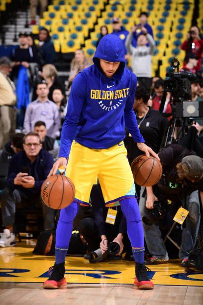 Stephen Curry of the Golden State Warriors during the game against the Oklahoma City Thunder on February 24 2018 at Oracle Arena in Oakland...