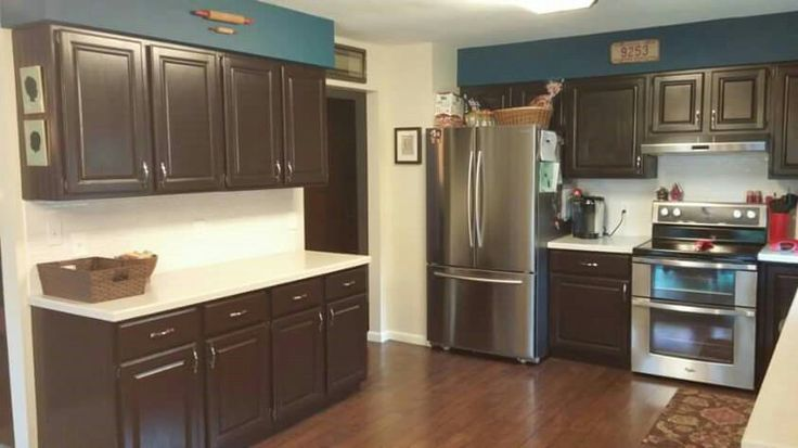 Cabinets painted in General Finishes Dark Chocolate milk paint
