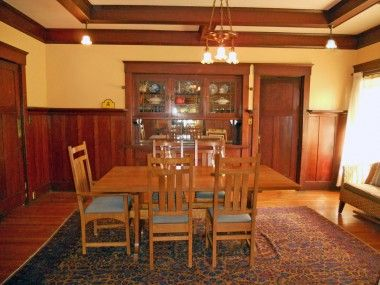 Large Formal Dining Room With Gorgeous Original Hardwood Floors Box Beam Ceiling Built