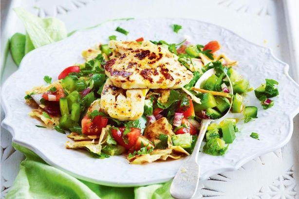 This traditional Lebanese salad has grilled haloumi for an extra protein boost.