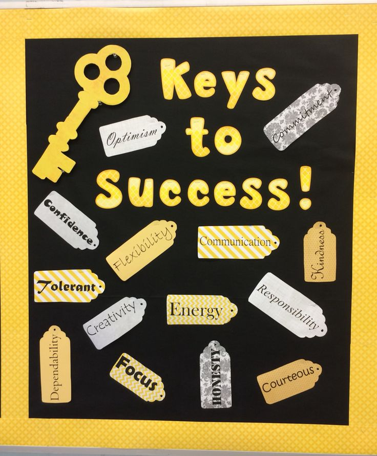 'Keys to Success' high school bulletin board. Characteristics printed on scrapbook paper and cut out in tag shapes.