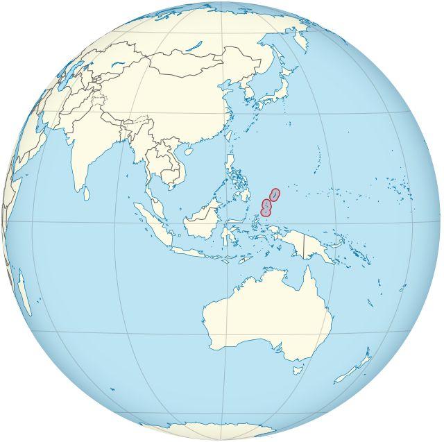 Palau on the globe (Southeast Asia centered) (small islands magnified) ◆Palaos - Wikipedia http://es.wikipedia.org/wiki/Palaos #Palau