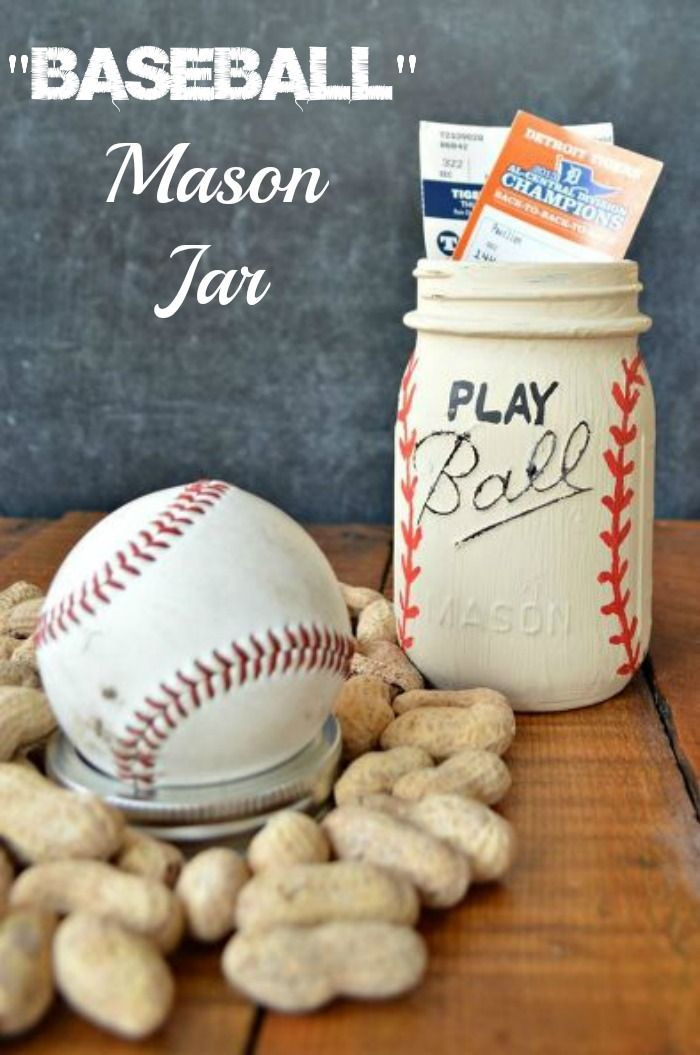 This is the perfect gift for any baseball lover ~ Play Ball Mason Jar