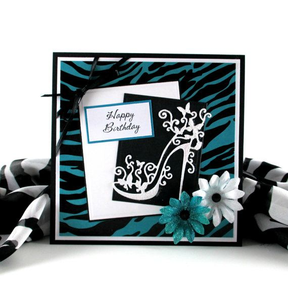 Zebra print card, feminine birthday card,  personalized card,  high heel shoe card, for female, women, woman, girls