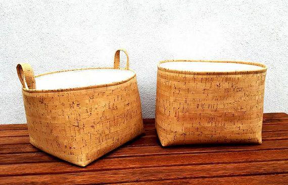 SUGHERO pelle deposito Cestino tessuto stile di VintageFromChris