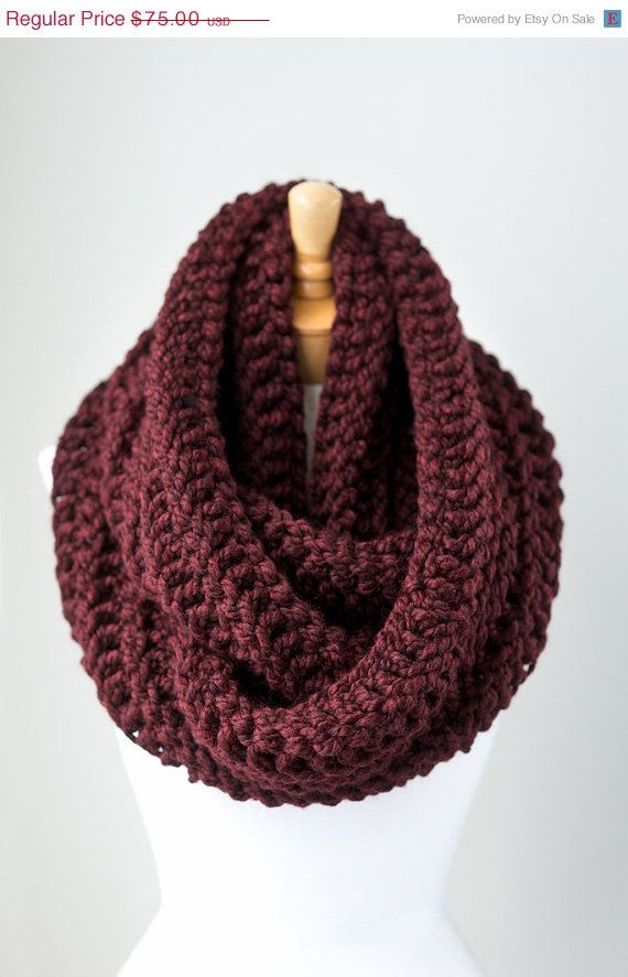 ON SALE Hand knitted infinity scarf oversized by PikaPikaCreative