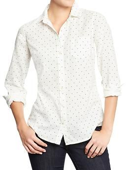 Women's Oxford Shirts | Old Navy $24 (white with navy dot)