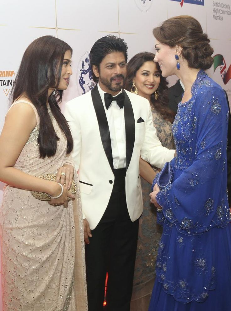 Shah Rukh Khan, Aishwarya Rai Bachchan with Kate Middleton while Madhuri Dixit looks on at a special dinner for British royal couple William and Kate. #Bollywood #Fashion #Style #Beauty #Hot #Sexy