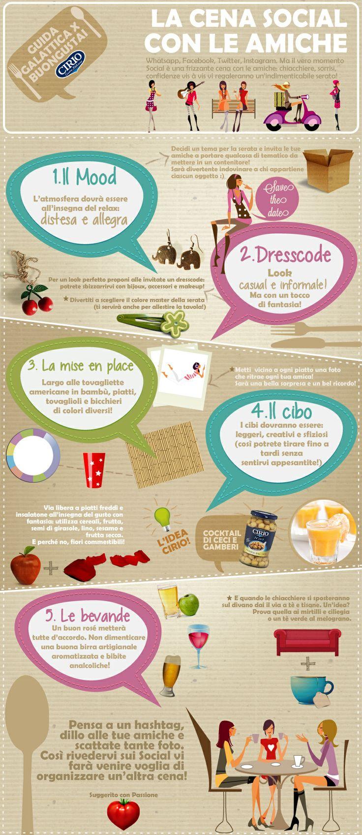 """""""Guida galattica per Buongustai"""" #Cirio La cena #social con le amiche #friends #dinner #infographic"""