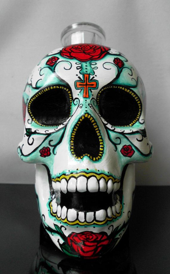 Day of the Dead Hand painted glass bottle by artsyleenies on Etsy
