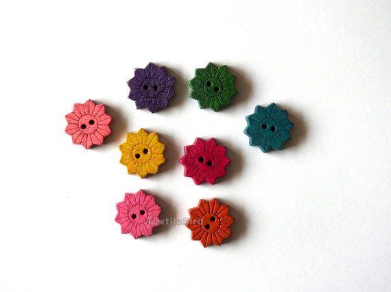 Wood Buttons Sunflower - 8 pcs