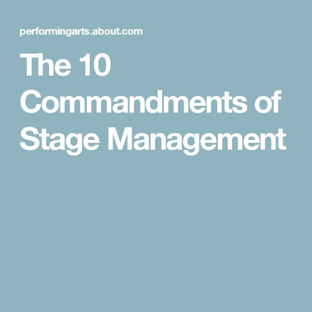 The 10 Things Stage Managers Must Know