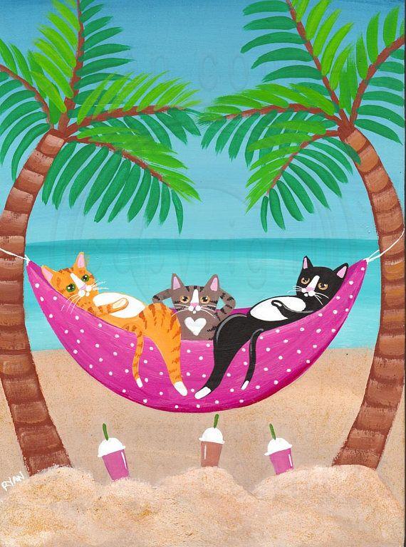 Beach Cats in Hammock Original Beach Cat Folk Art Painting © Ryan Conners