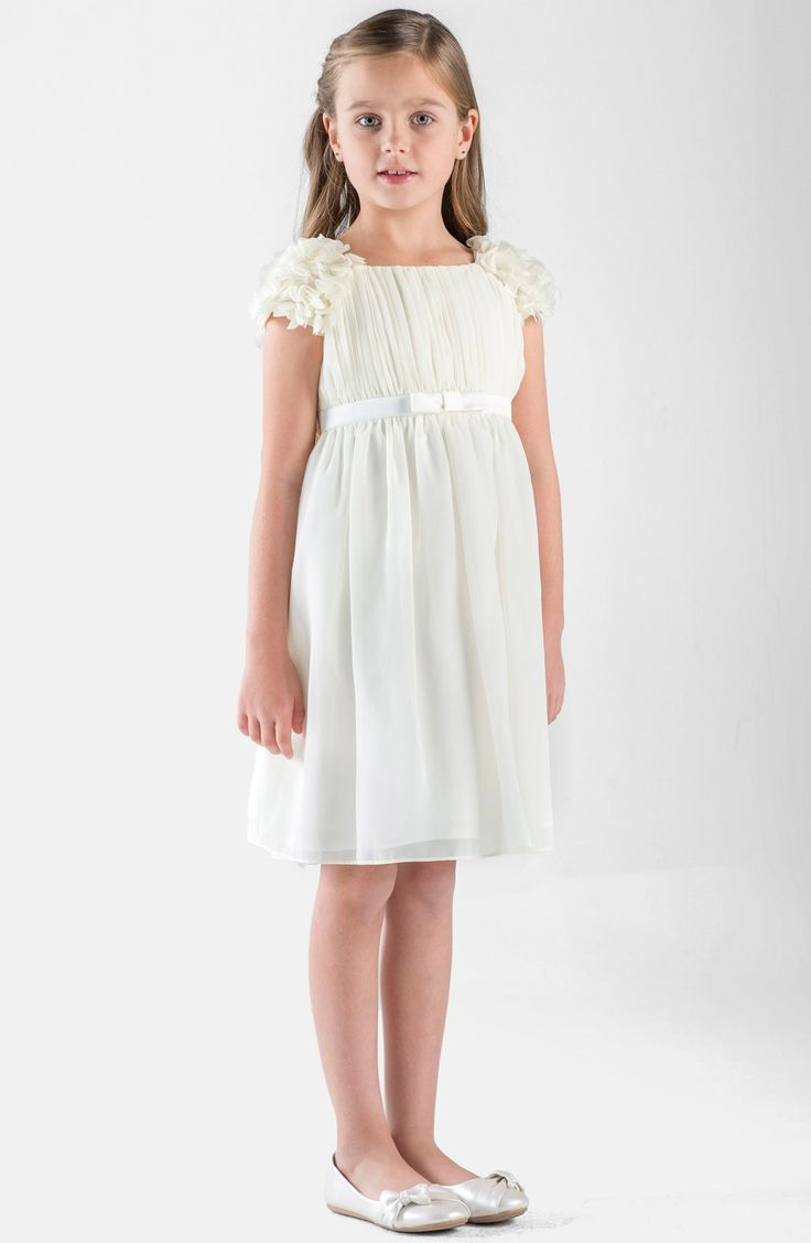 Chiffon Flower Girl Dresses, Organza Flower Girl Dresses, Satin Flower Girl Dresses, Taffeta Flower Girl Dresses - Girls Dress Line Lovely sleeveless chiffon dress with ruched neckline. The gorgeous dress is accented by a removable.. Elegant simple and classic style for your little girl. This dress is pleated all around with wired h.