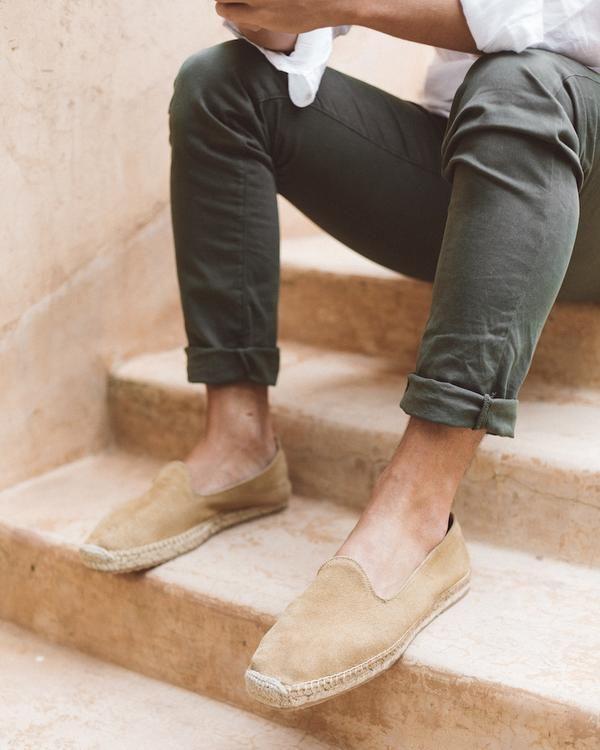 Men Espadrilles Leather Suede - Sand