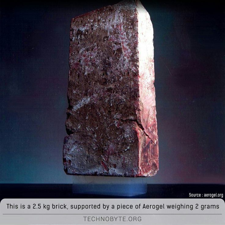 Aerogel, nicknamed 'frozen smoke', is a synthetic porous ultralight material derived from a gel, in which the liquid component of the gel has been replaced with a gas. The result is a substance with the lowest density of any known solid — one form of this substance is actually 99.8 percent air. 500 gm of Aerogel can hold half a ton of weight.