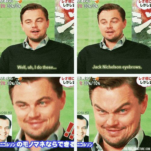 LMAO! Leonardo DiCaprio does Jack Nicholson - if this isn't moving, you've got to click for the gif!