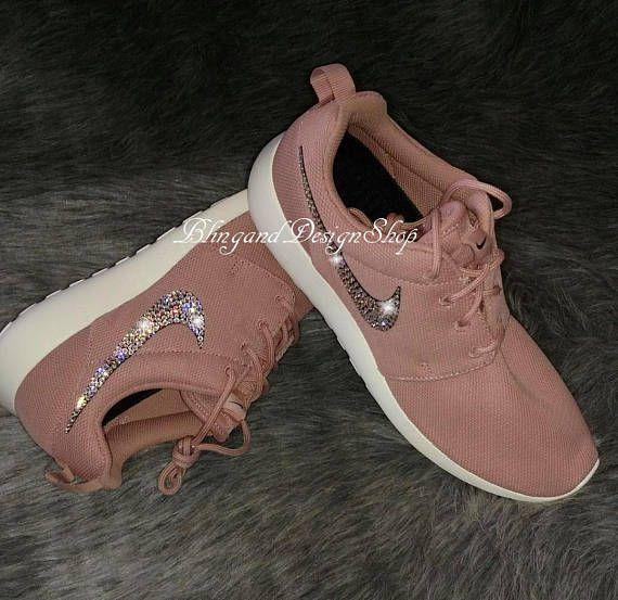 Swarovski Pink Nike Shoes Women's Nike Roshe One Crystal Rhinestones Bling Custom Tennis Shoes, Authentic New in Box