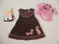 Kijiji: NWT Gymboree girls Polkadot Puppy set: dress, hat, tights 3-6m