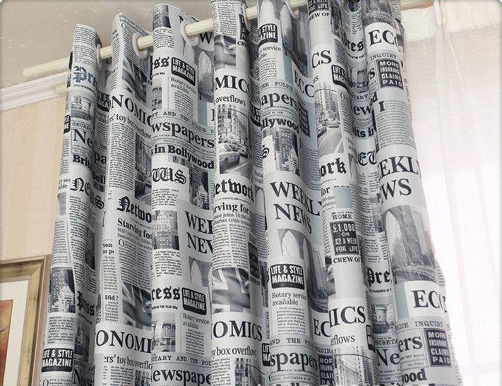 1318-3913 руб 2016 Новый стиль газета напечатала шторы толстые плотные шторы для гостиной окно спальни лечение панели DrapeN купить на AliExpress