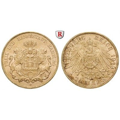 Deutsches Kaiserreich, Hamburg, 20 Mark 1913, J, vz-st, J. 212: 20 Mark 1913 J. J. 212; GOLD, vorzüglich-stempelfrisch, kl. Kratzer… #coins