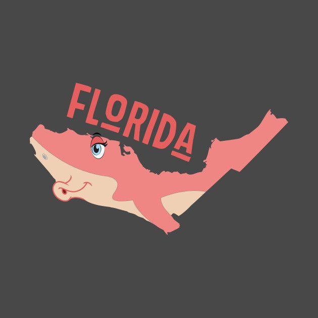 A funny map of Florida. A kissing shark.