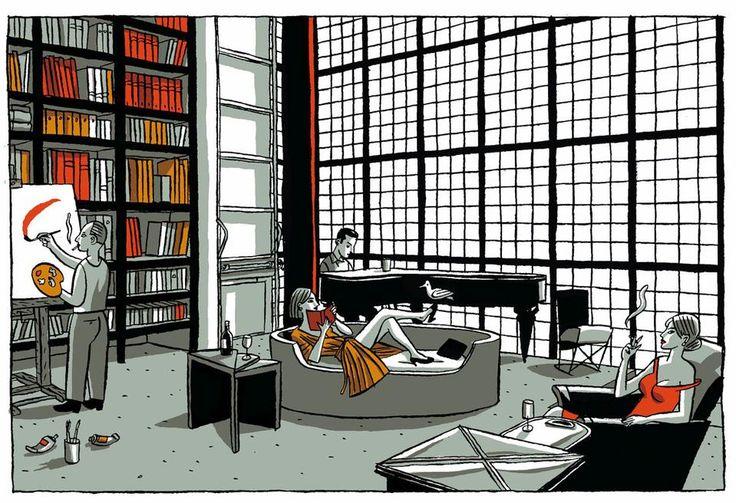 """""""La maison de verre"""" by Jacques de Loustal / The 1932 glass house in Paris designed by Pierre Chareau challenges our assumptions about the nature of Modernism."""