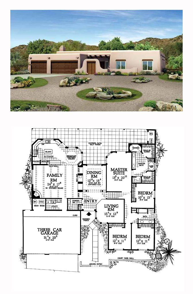 17 best images about santa fe house plans on pinterest for Southwest homes floor plans