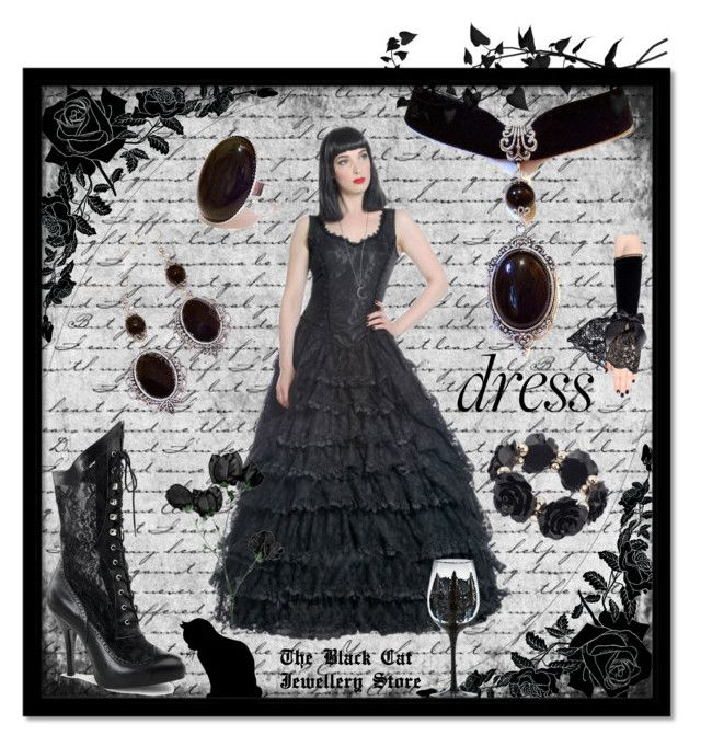 """""""Black Gothic Dress"""" by theblackcatjewellerystore ❤ liked on Polyvore featuring holidaystyle and oversizeddress"""