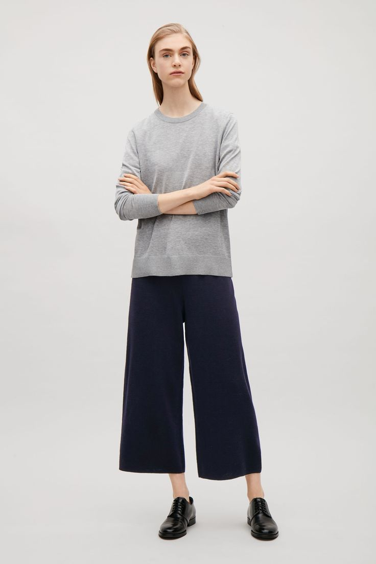 COS image 4 of Milano knitted merino trousers in Blue