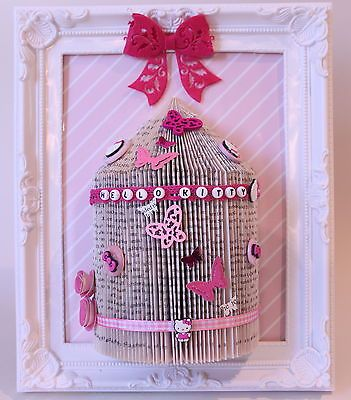 Hello Kitty handmade gift personalised bird cage book fold framed 11 x 9 (A6)