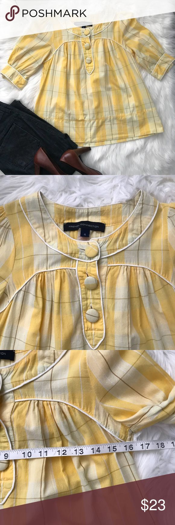 French Connection Yellow Short Sleeved Blouse Sz 4 This blouse is too cute! 🌼🍂. It has fabric covered oversized buttons. Perfect with jeans. EUC. There are no rips, stains or tears. Bundle with another item and I'll send you an offer! 😉 French Connection Tops