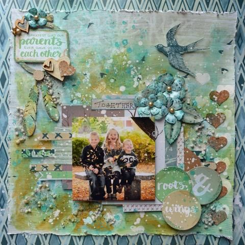 Linda Pekrul mixed media layout using the Rooted Love collection