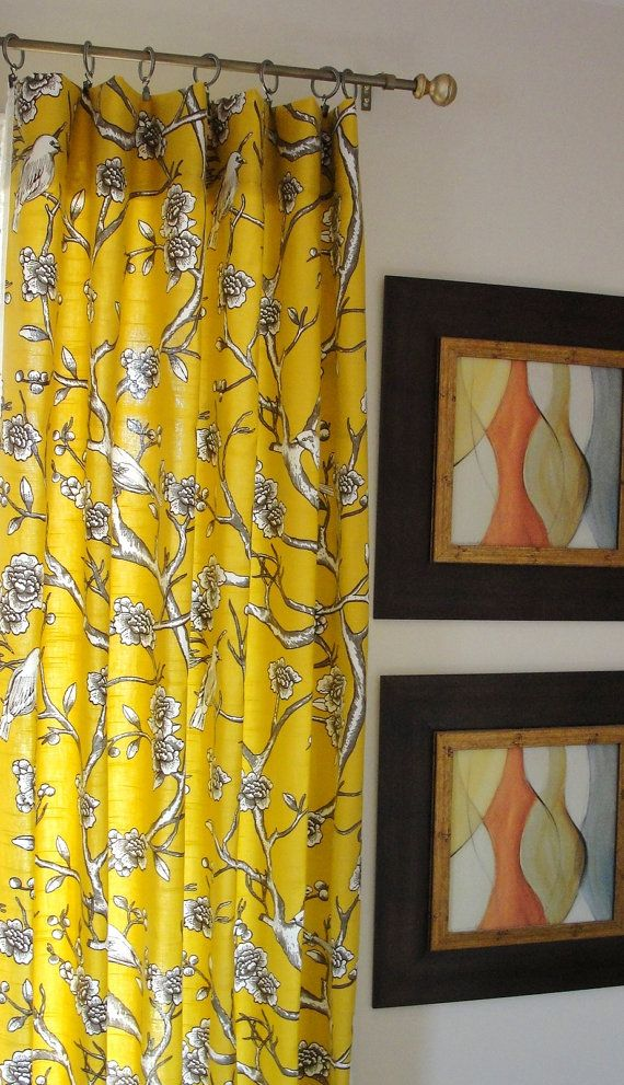 """Curtains panel Yellow drapes Designer flate Rod Top Drapery Panels-84"""" inches-Your Choice of Fabric-Custom Lengths Available"""