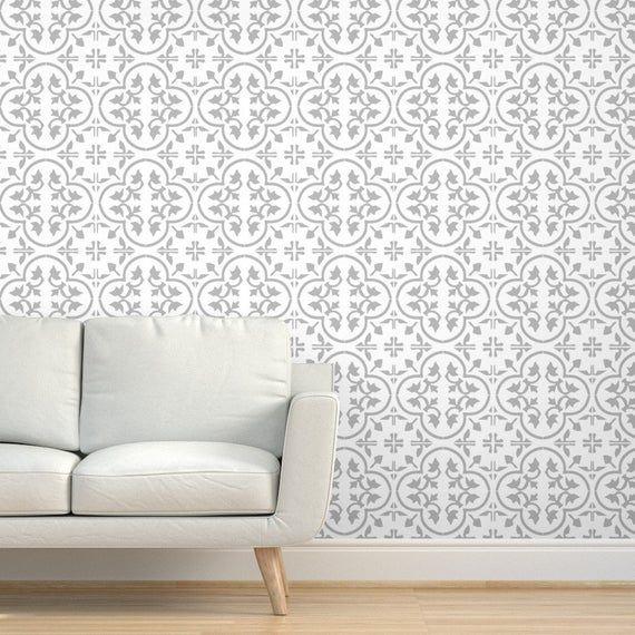 Cement Tile Wallpaper Gray Light Moroccan Cement Tile By Etsy Tile Wallpaper Moroccan Wallpaper Cement Tile