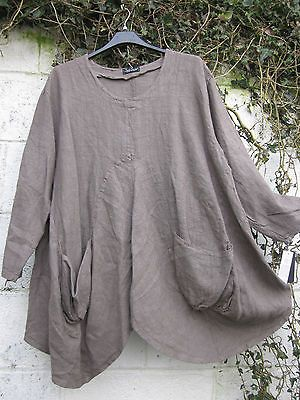 SARAH SANTOS QUIRKY BALLOON LINEN TUNIC TAUPE OATMEAL S M XL LAGENLOOK