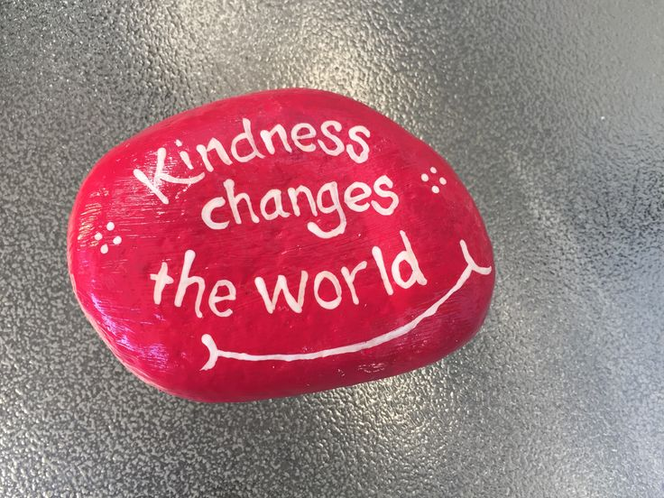 Kindness changes the world. Hand painted rock by Caroline. The Kindness Rocks Project