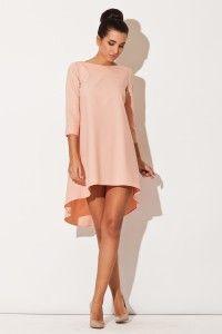 Asymetryczna sukienka - różowa K141